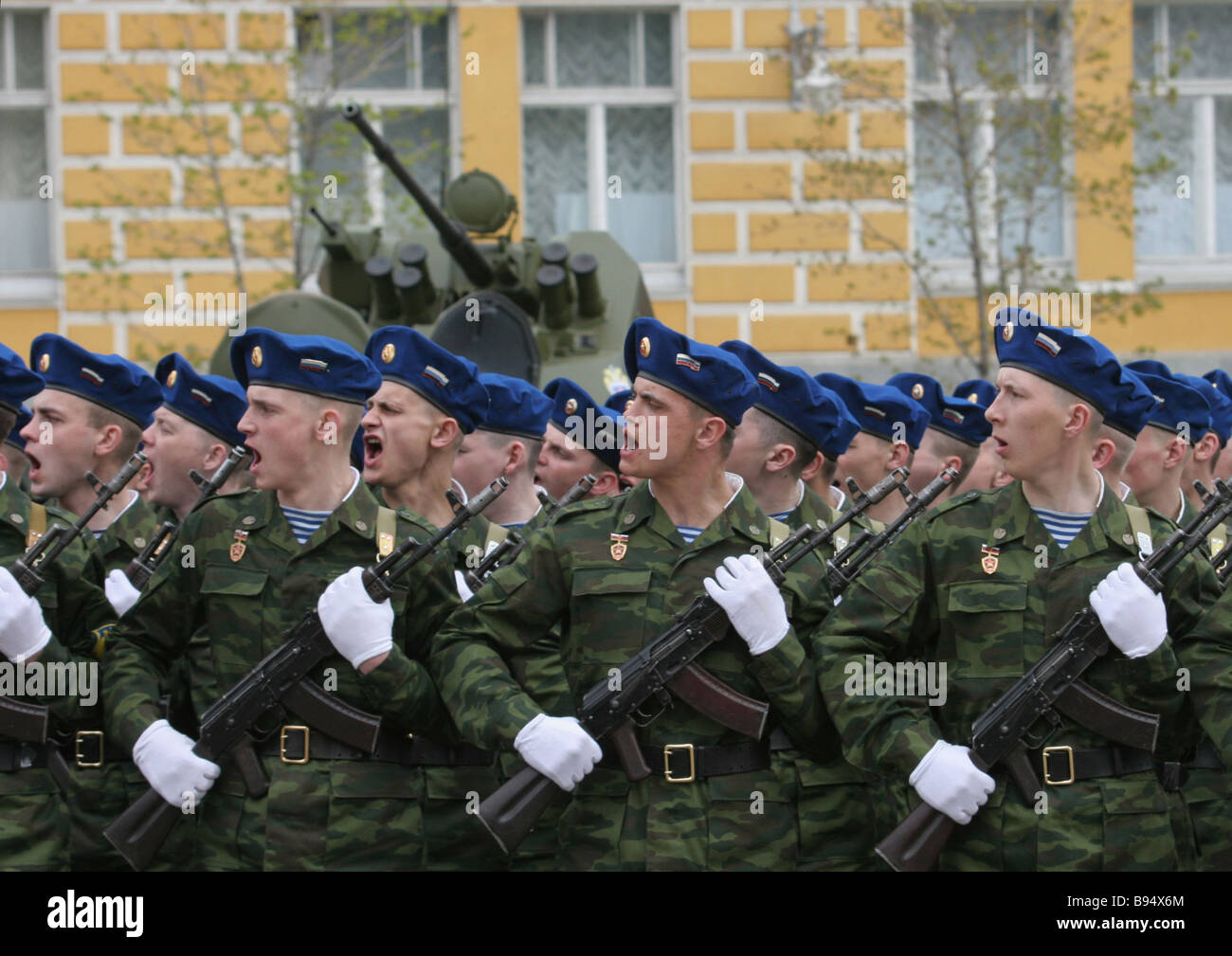 Military parade on the Presidential Regiment 70th establishment anniversary in Ivanovskaya Square Kremlin - Stock Image