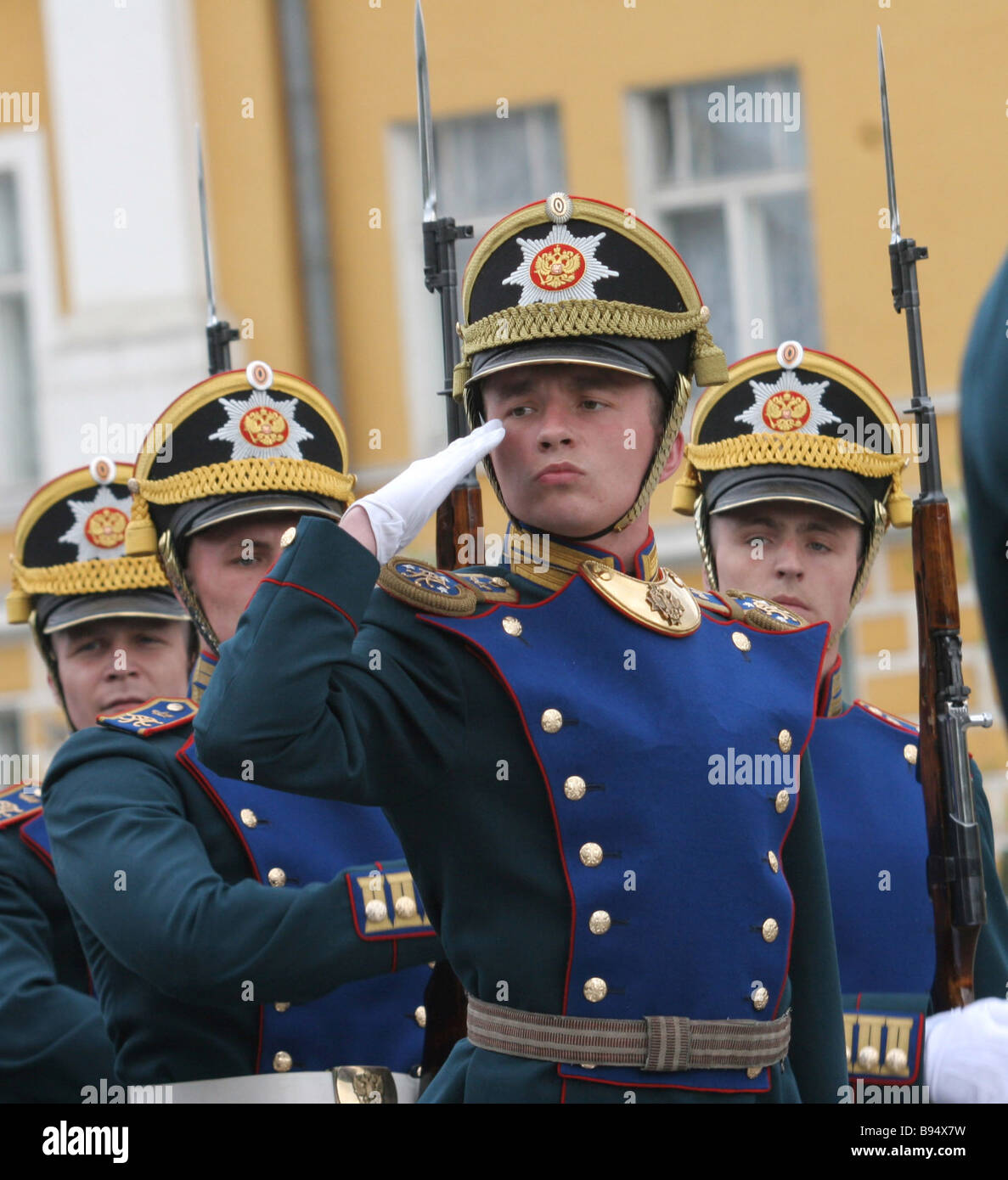 Troops parade on the Presidential Regiment 70th establishment anniversary in Ivanovskaya Square Kremlin - Stock Image
