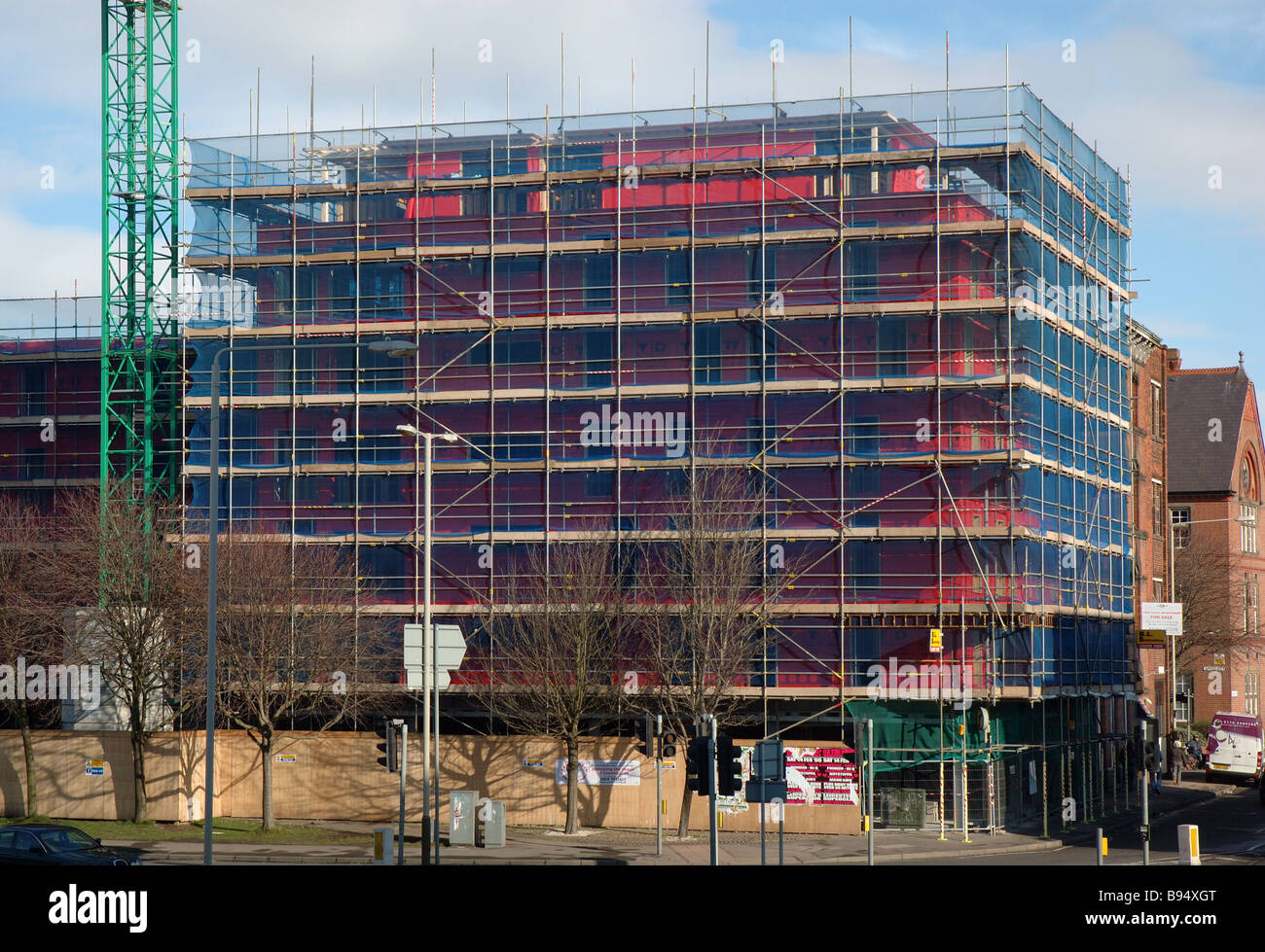 scaffolding around construction site, Leicester, England, UK - Stock Image
