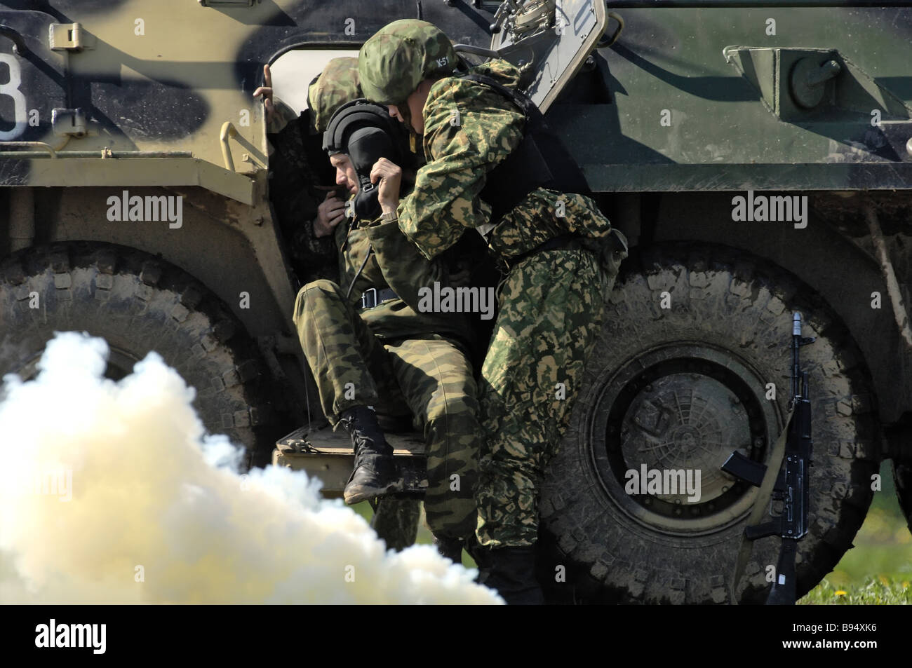 Demonstration of combat readiness elements held within exchanging experience between the Russian Interior Ministry - Stock Image