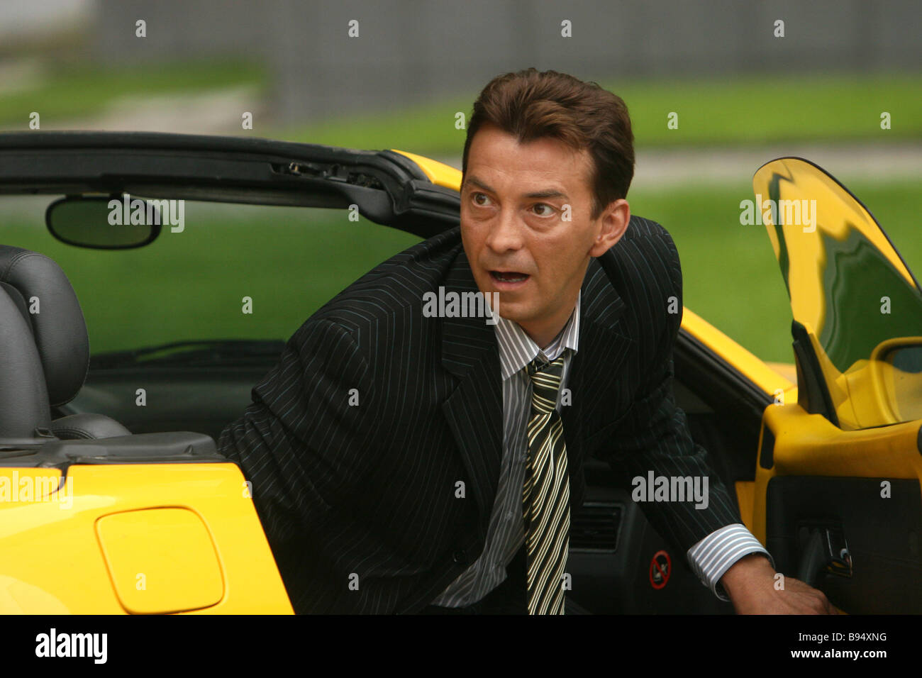 Actor Nikolai Dobrynin during the Black out TV series shooting The premiere of the 60 part TV series will be on - Stock Image