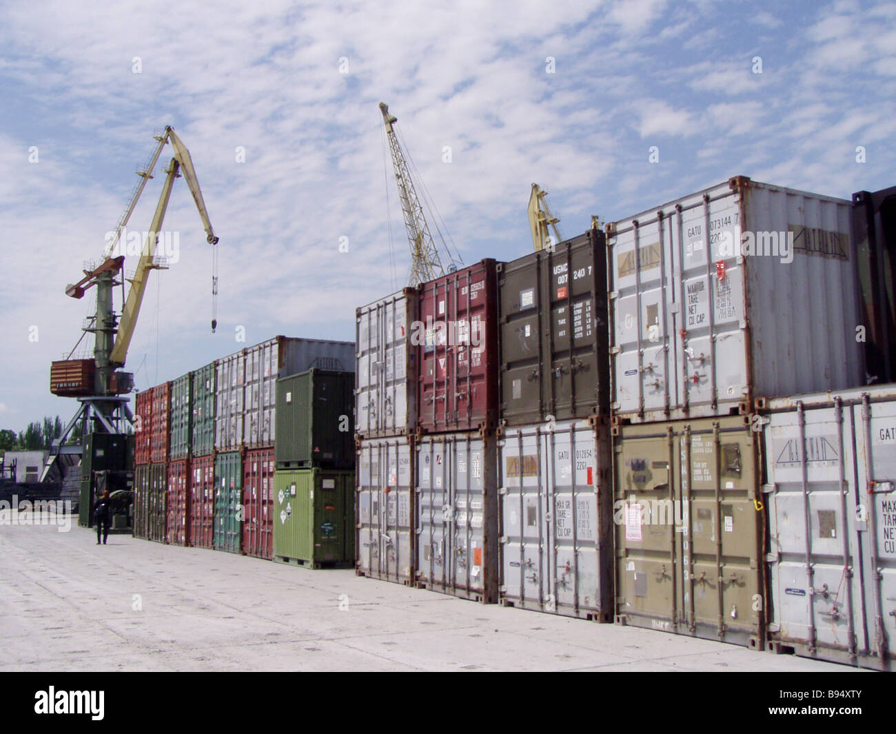 The U S naval transport Advantage has delivered these containers to Feodosia Crimean seaport in Ukraine - Stock Image