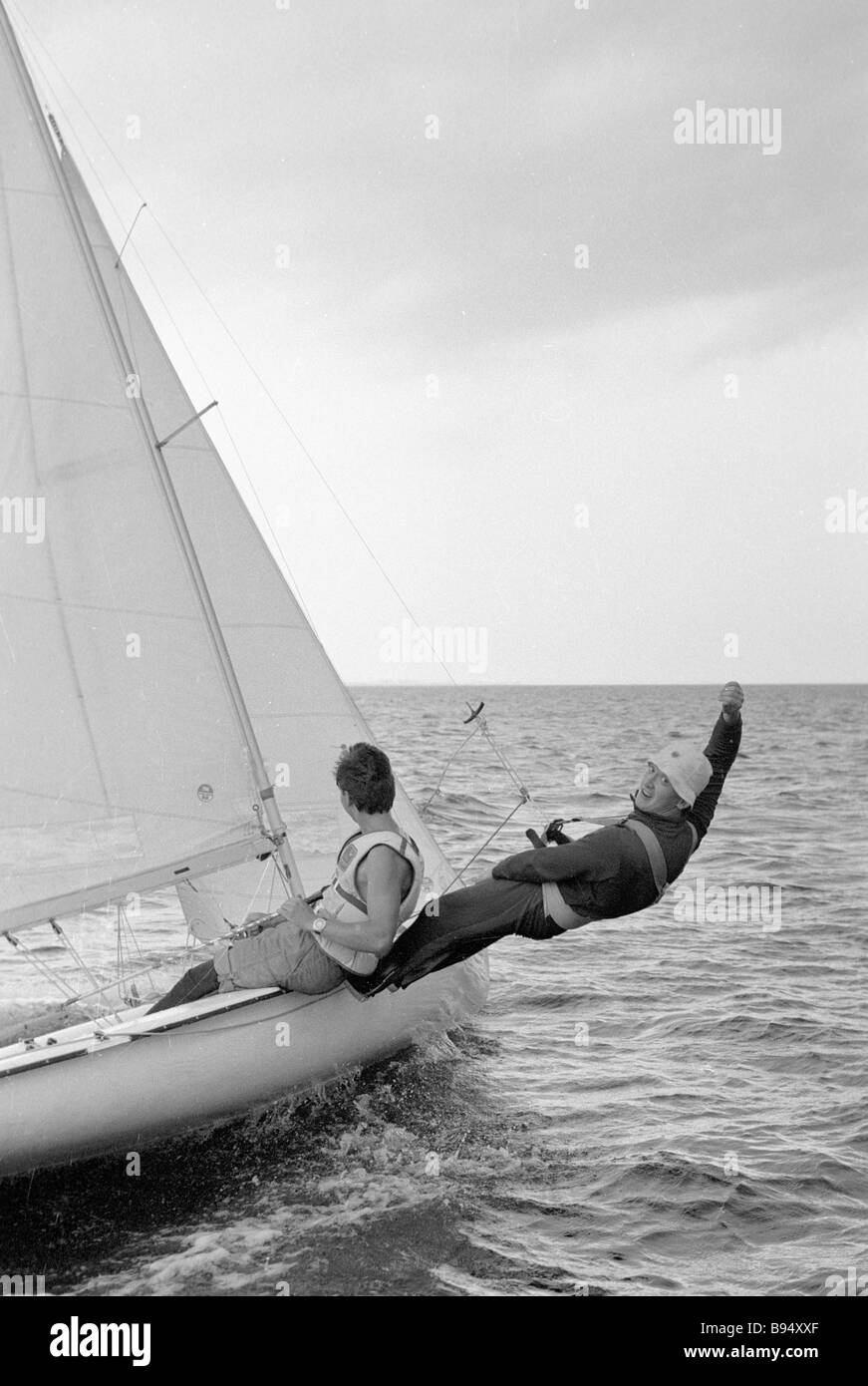 One of the best yachtsmen of a factory yachting club Trubnik - Stock Image
