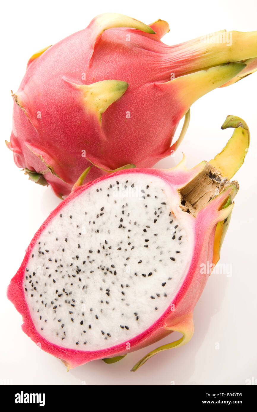 close up of a halved dragon fruit - Stock Image