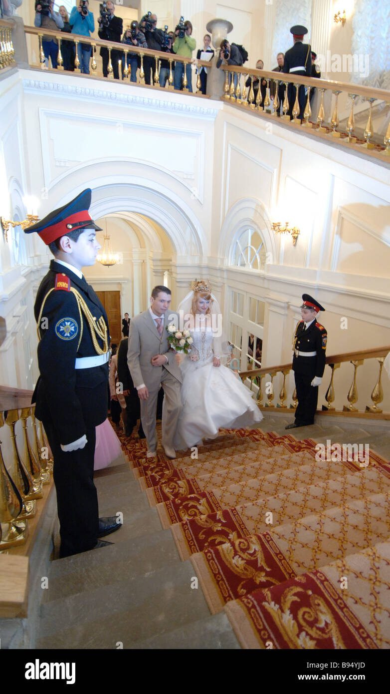 Grand style civil wedding at the Moscow mayoral office - Stock Image