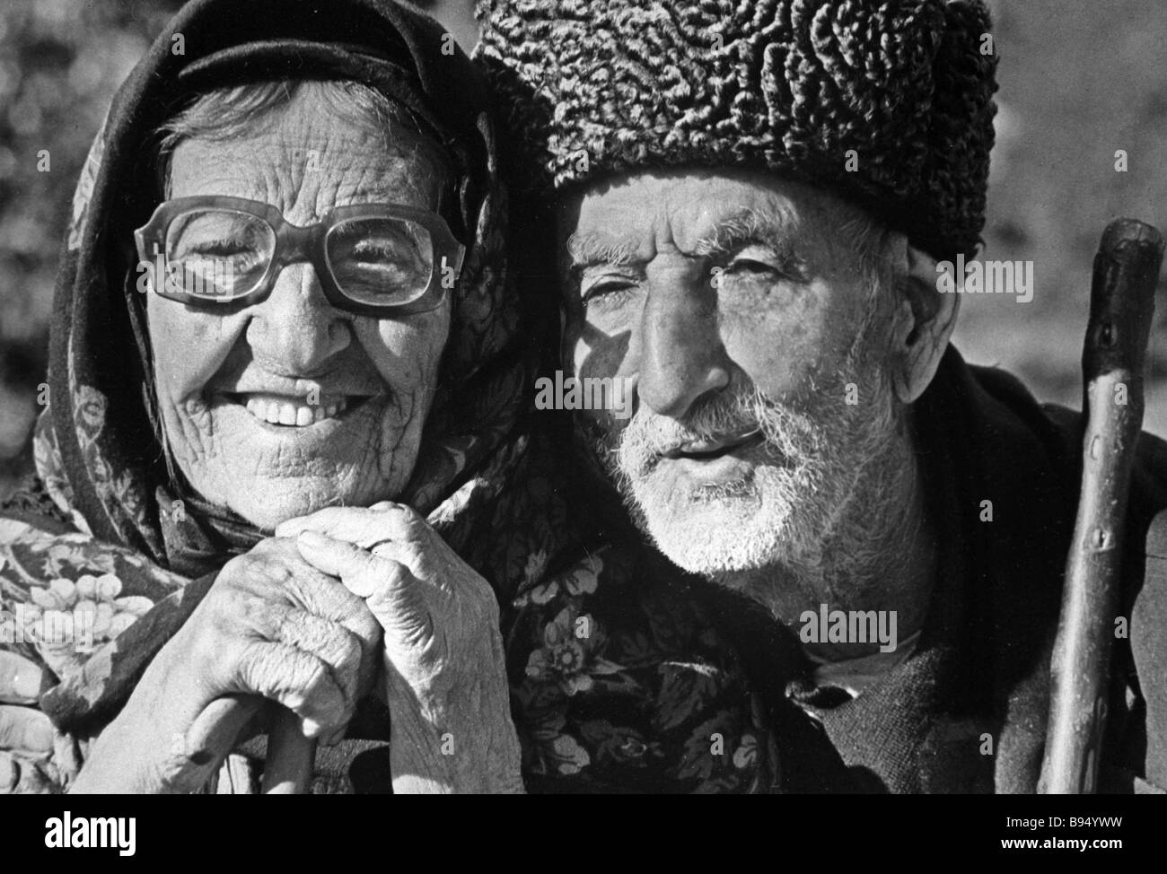 Ilyas Dzhafarov 120 and his wife on their 100th wedding anniversary - Stock Image