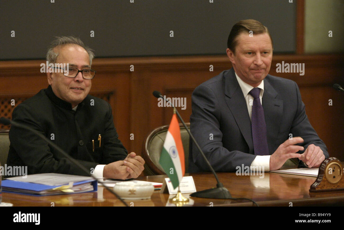 Russian Vice Premier and Defense Minister Sergei Ivanov Indian Defense Minister Pranab Mukerjee right to left at - Stock Image