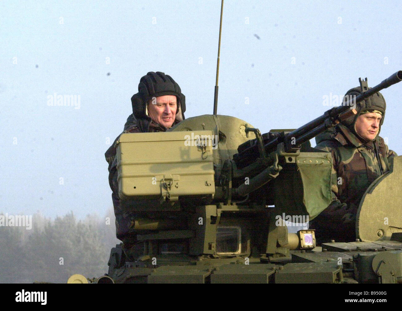 Vice Premier and Defense Minister Sergei Ivanov left observed demonstration of military demonstration at the Gold - Stock Image