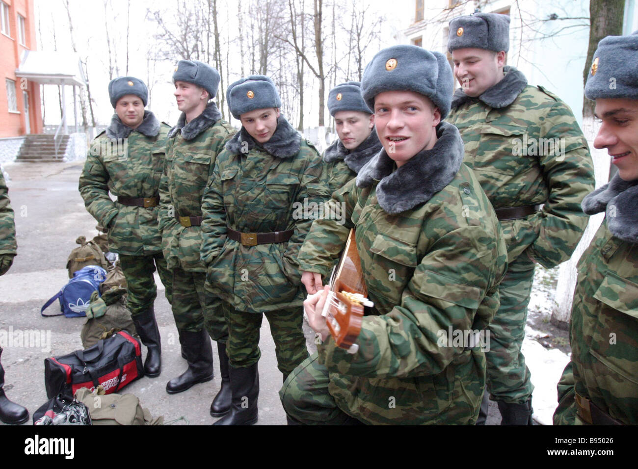 Recruits of the 2005 fall draft at the Moscow Region induction center in Zheleznodorozhny - Stock Image