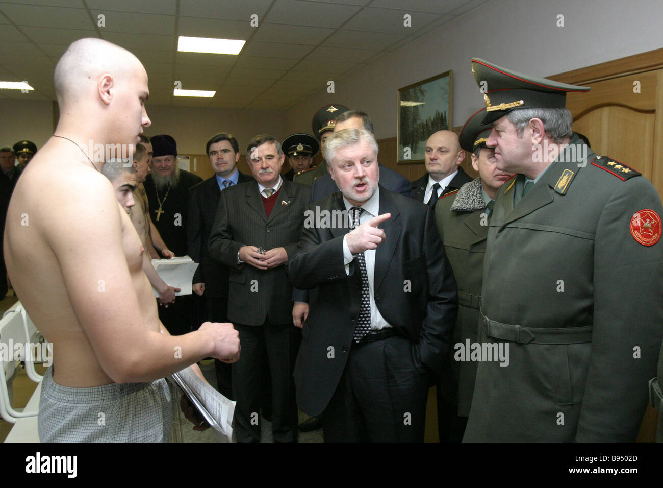 Recruits of the 2005 fall draft and Federation Council Speaker Sergei Mironov second right at the Moscow Region Stock Photo