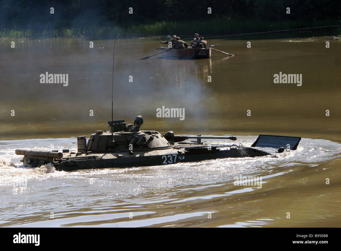 Moscow Military District motorized infantry and armored units negotiate a water obstacle Waterdrome of the 4th Kantemirovskaya - Stock Image