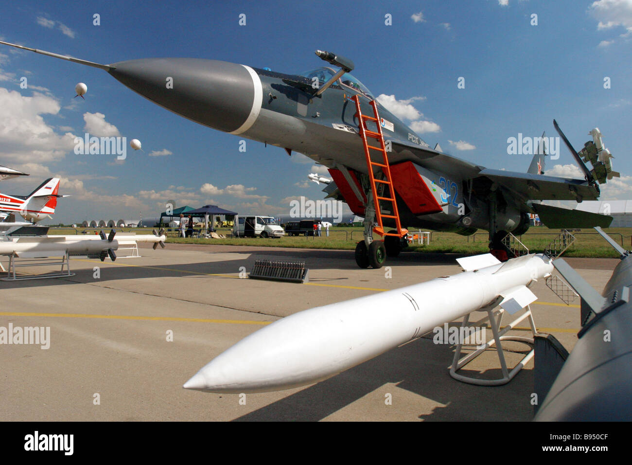 A MIG 29K multi purpose aircraft carrier based fighter craft at the MAKS 2005 international airspace show - Stock Image