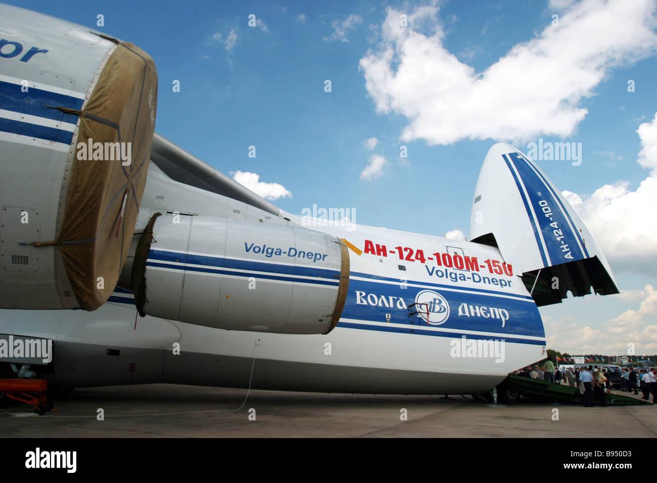 An AN 124 100M 150 cargo craft at the MAKS 2005 international aerospace show Stock Photo