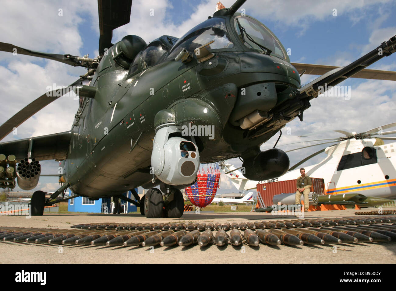 A transport combat helicopter MI 35M at the MAKS International Aviation and Space Salon - Stock Image