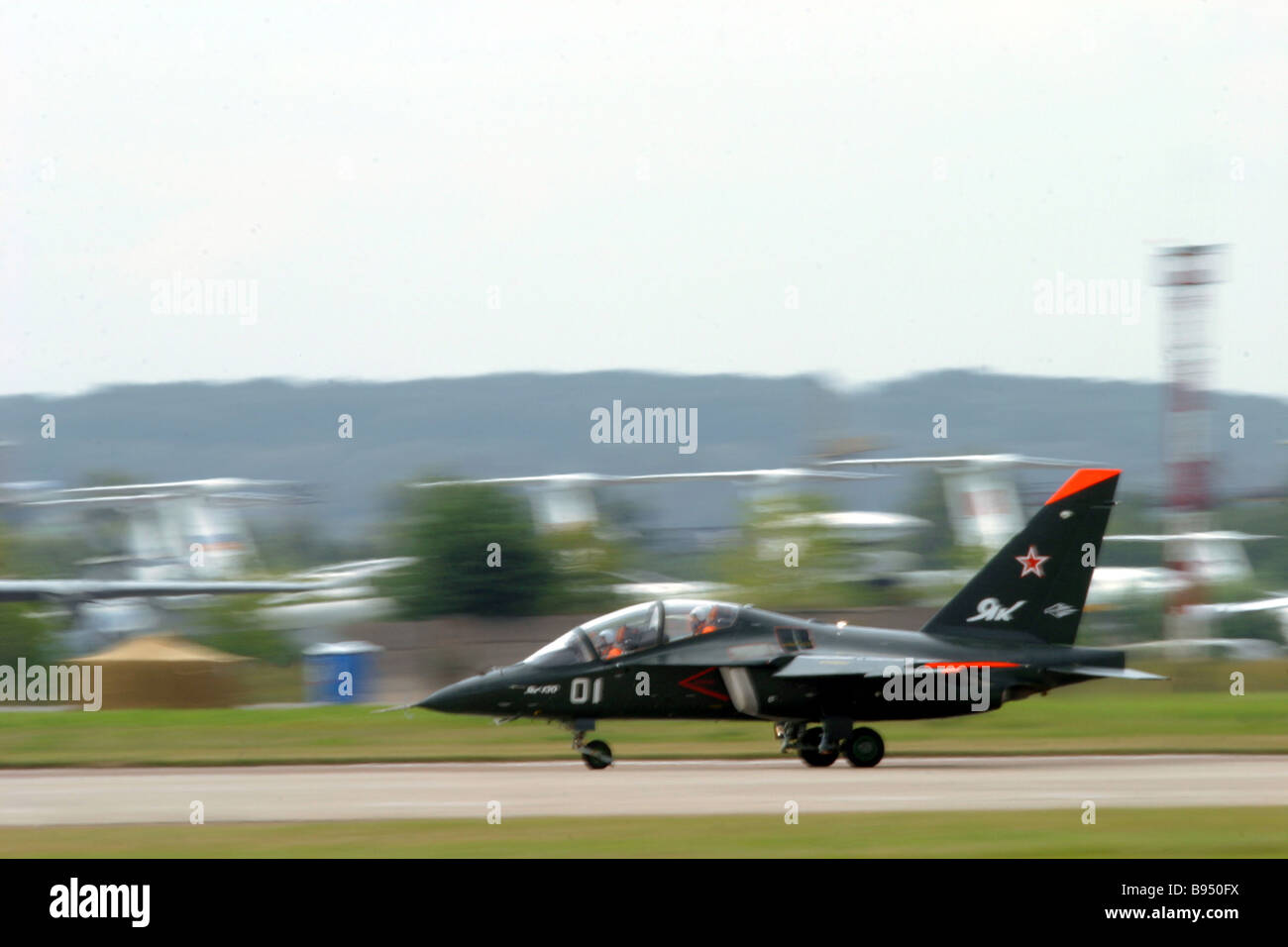 A Yak 130 combat trainer at the MAKS 2005 Air Show - Stock Image