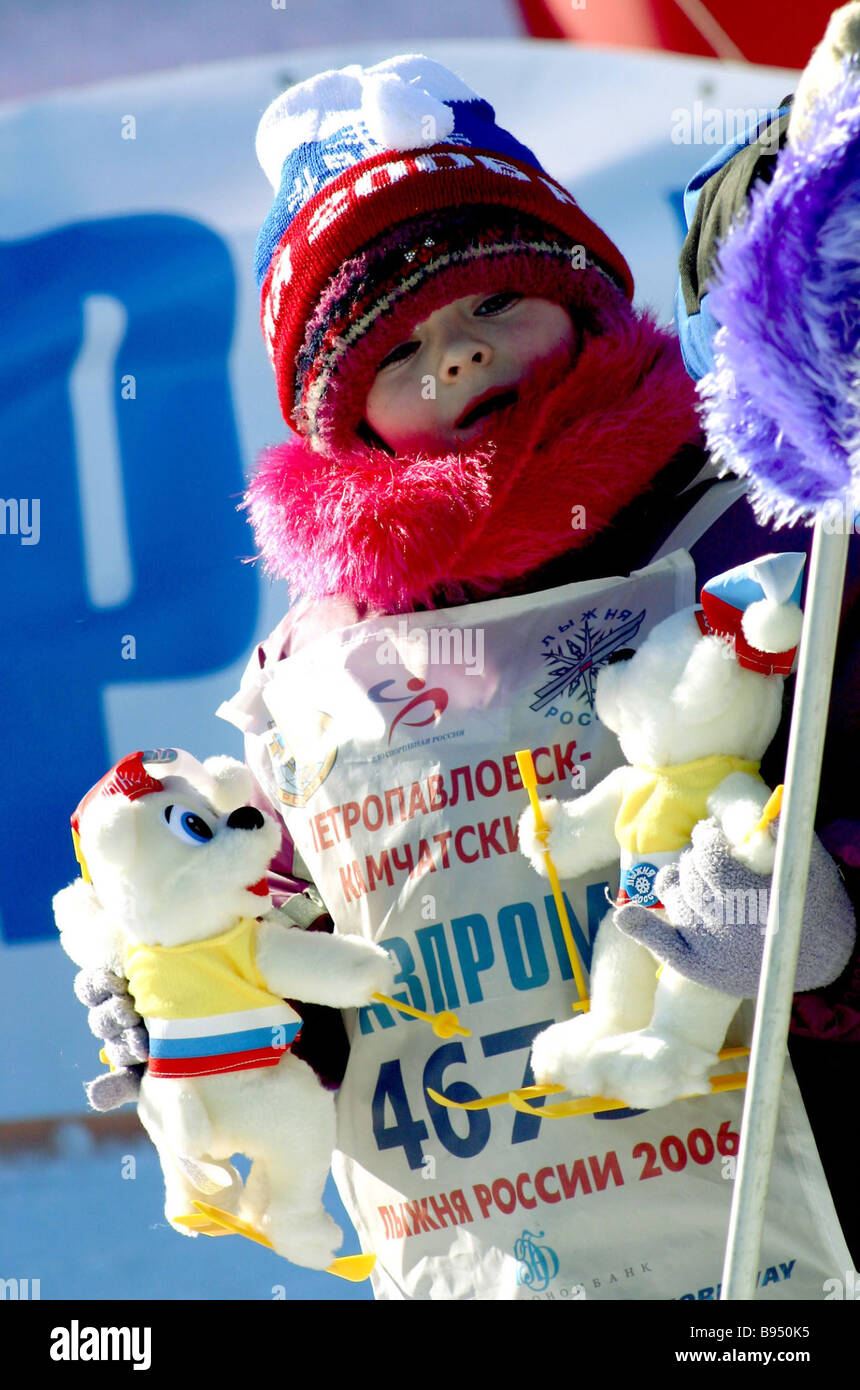 A young participant in the Russian Ski Track 2006 race first stage in Petropavlovsk Kamchatsky - Stock Image