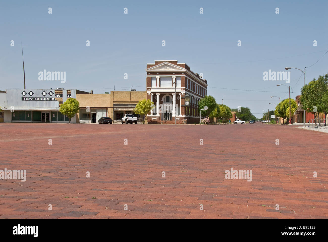 Texas Panhandle red brick downtown square in town of 'Memphis Texas' - Stock Image