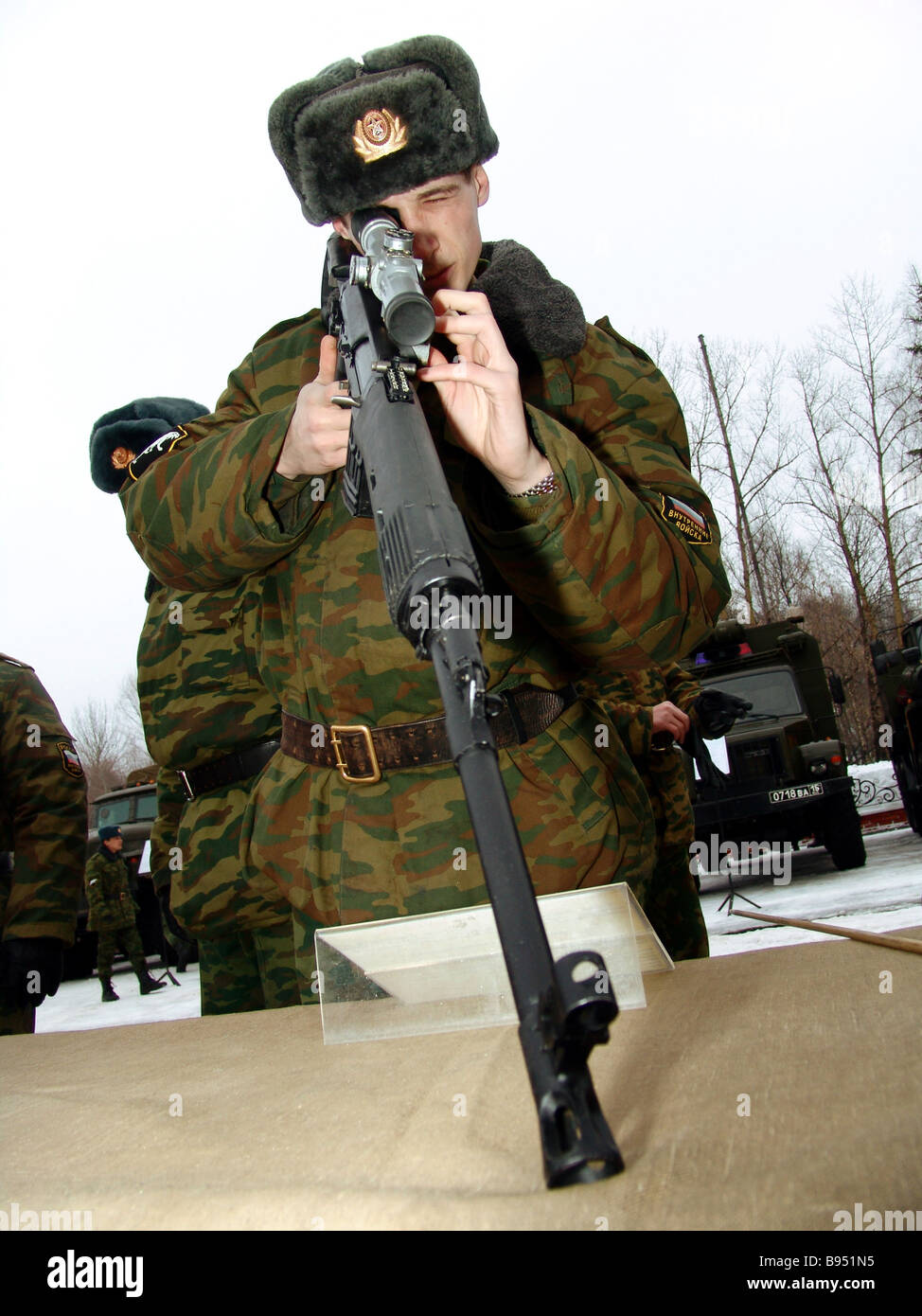 Exibition of new arms models at the special tactical division of the Russian Interior Ministry troops - Stock Image