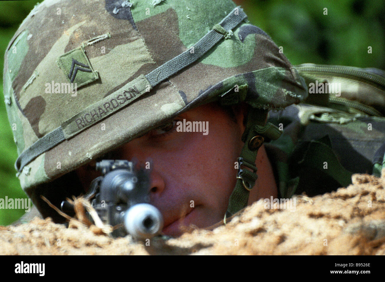 At the Torgau 2005 Russian American dry forces exercise Stock Photo