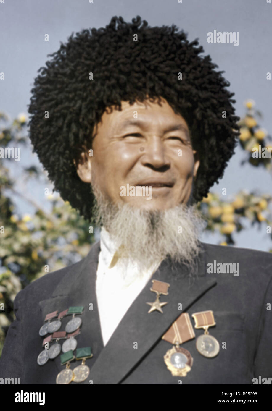 A famous gardener Hero of the Socialist Labour Meretli Chapykov - Stock Image