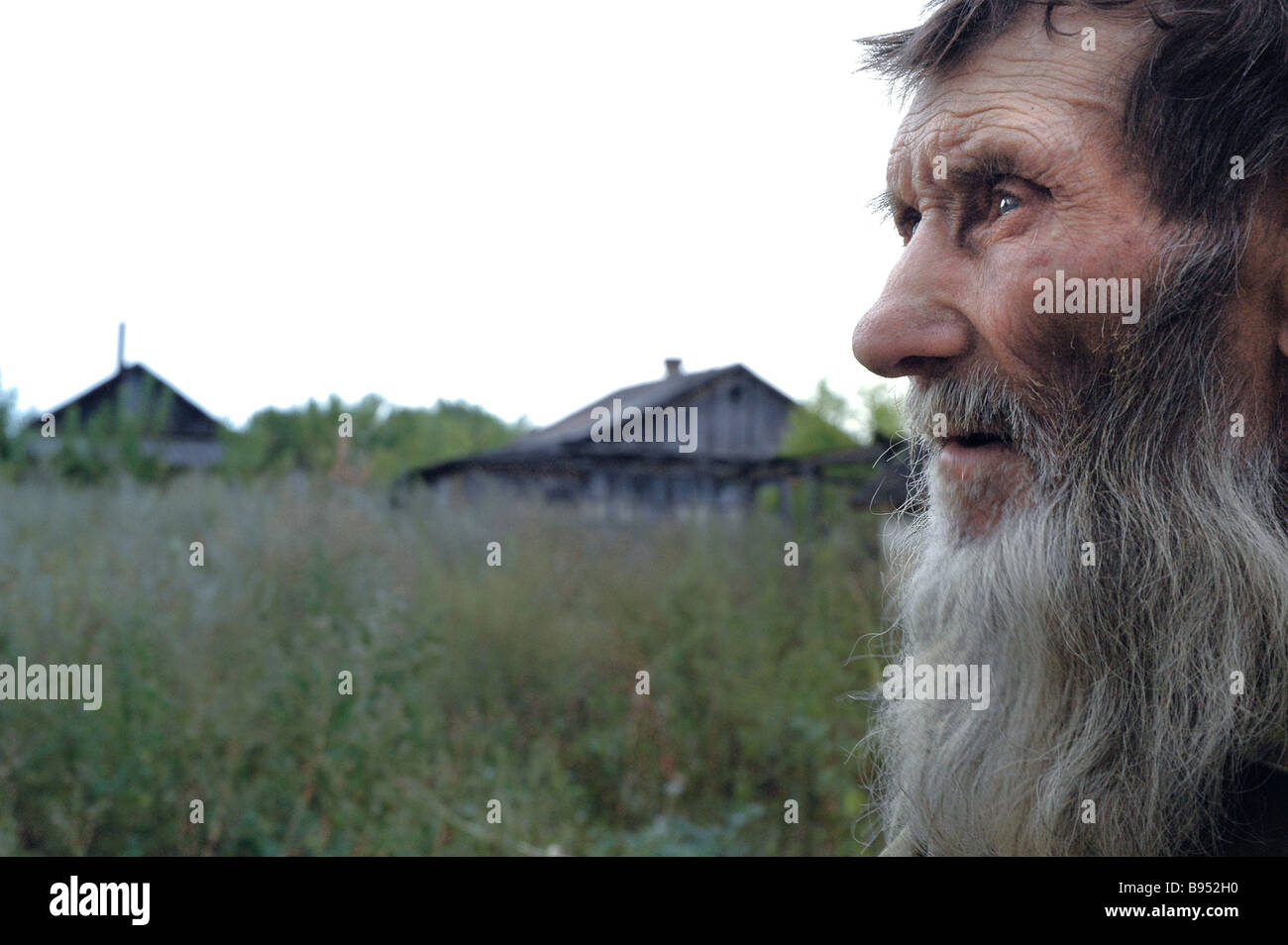 Rubezh Frontier farmstead on the border between the Voronezh and Rostov Regions has only six houses and one resident - Stock Image
