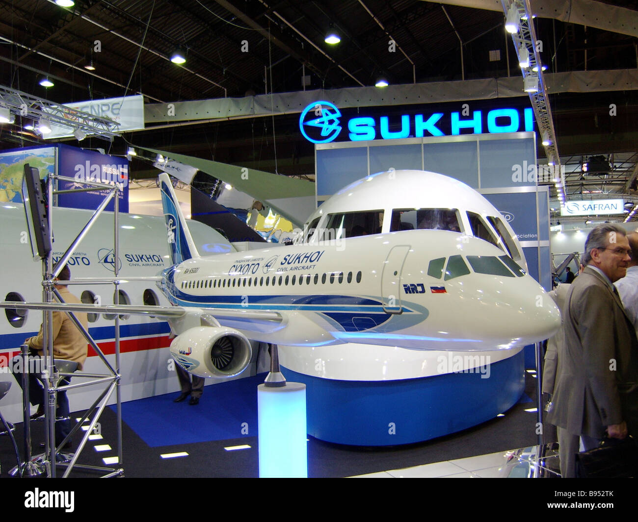 The Russian Sukhoi aircraft holding is presented at the 46th air show in Le Bourget France - Stock Image