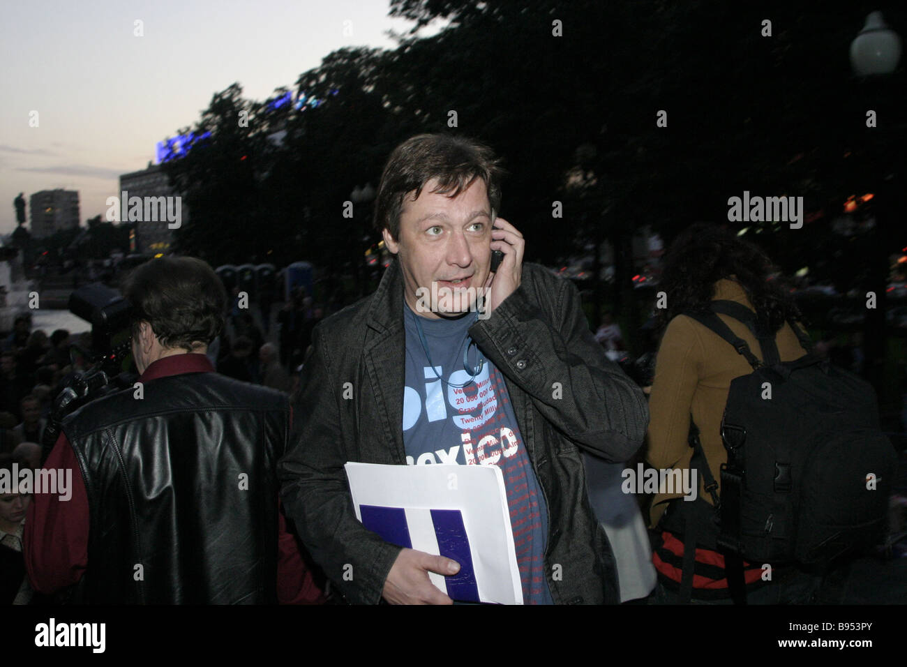 Actor Mikhail Yefremov before the first run of the Russian film Zhivoi in the Pushkinsky movie theater - Stock Image