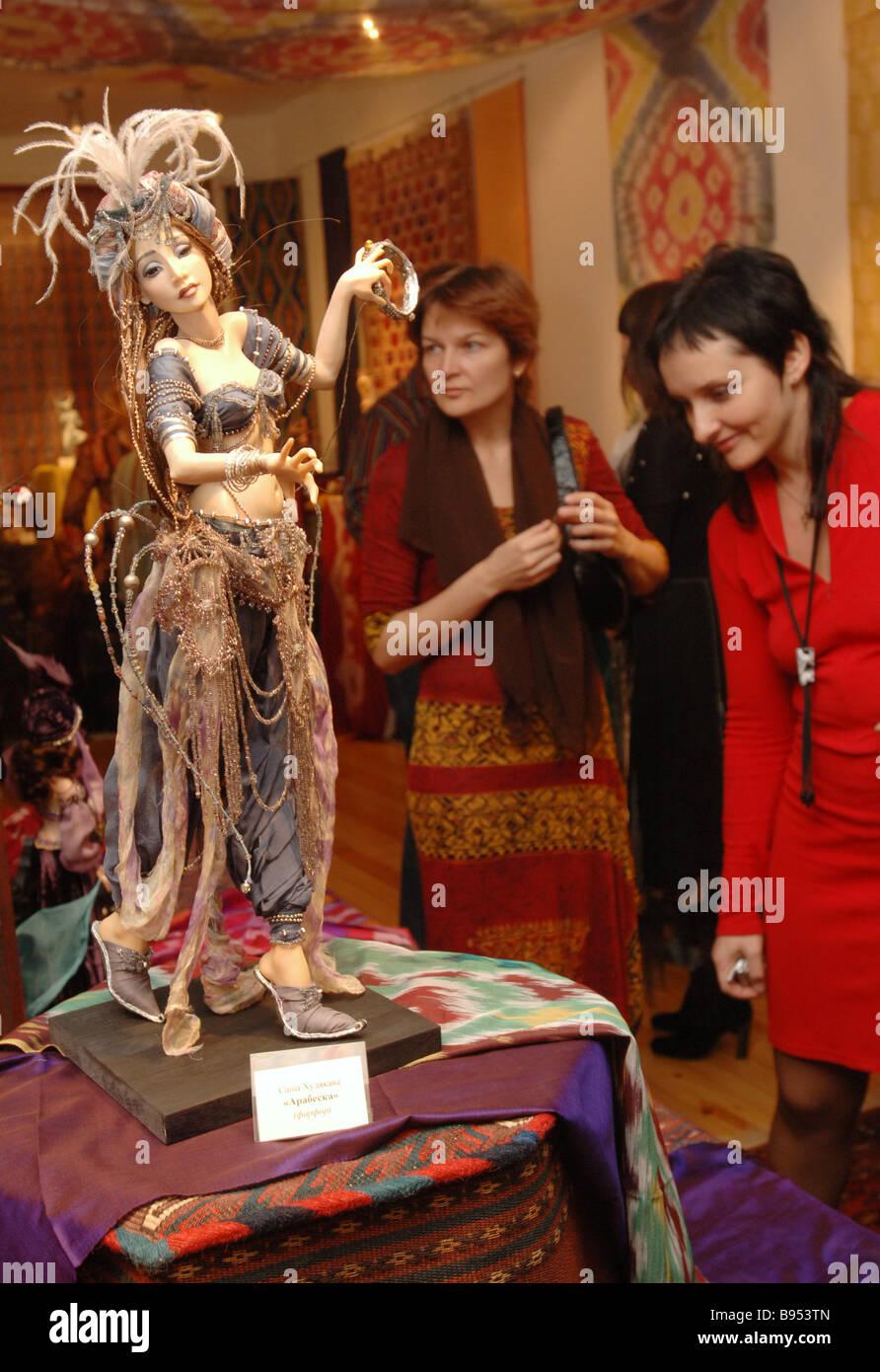 Arabesque porcelain by Sasha Khudyakova an item from the exhibition of artistic dolls Oriental Fantasies - Stock Image