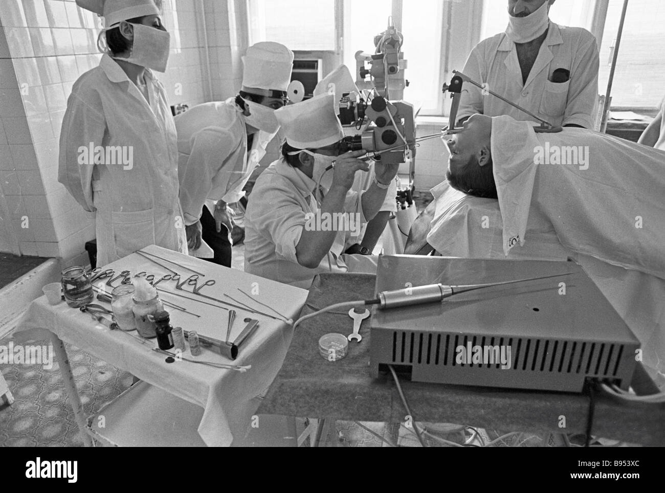 Doctors of the ENT department of the regional clinical hospital operate a patient - Stock Image