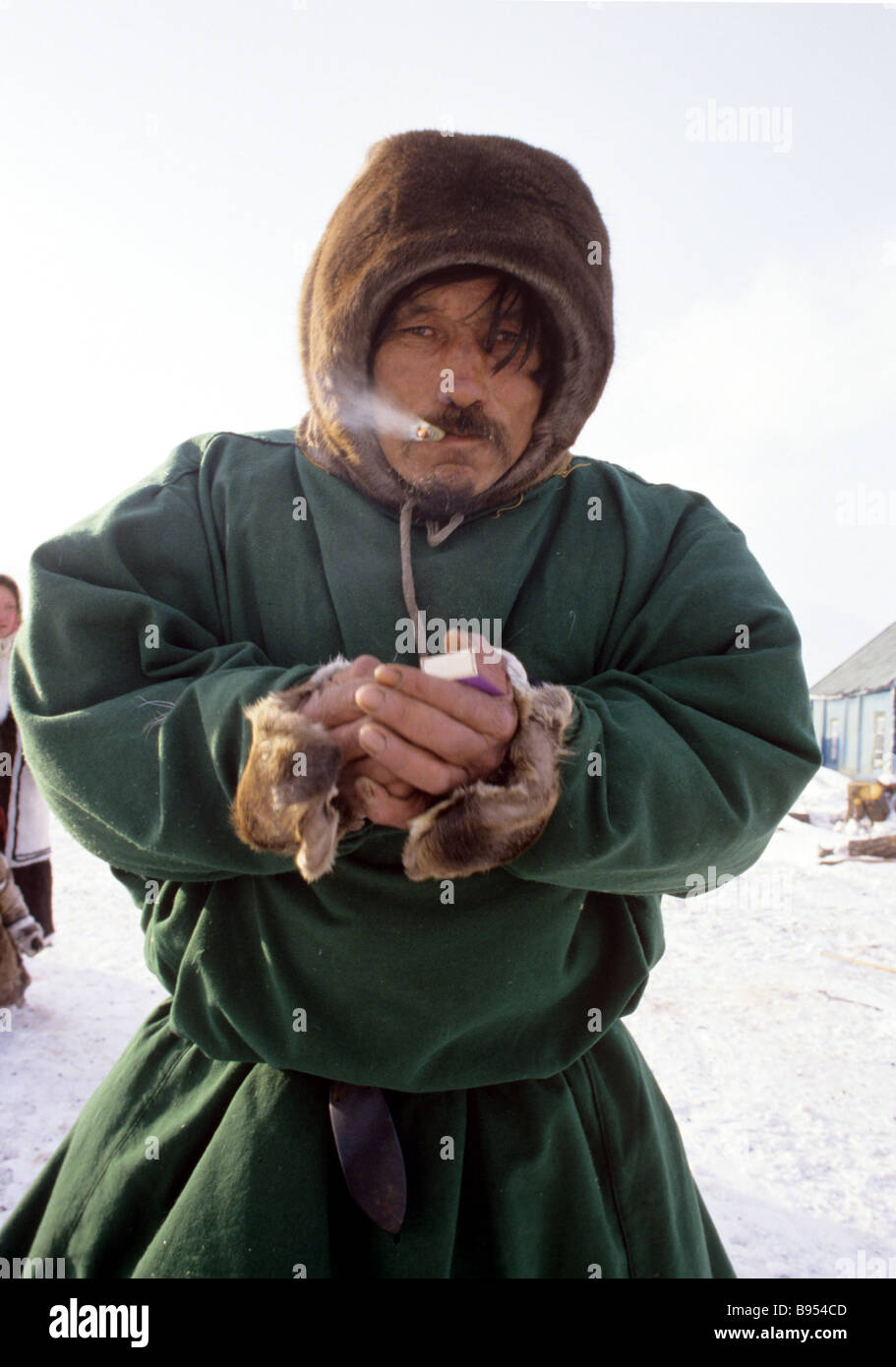 Khanty reindeer breeder Ivan Laplander from the state farm Baidaratsky of Priuralsky district - Stock Image