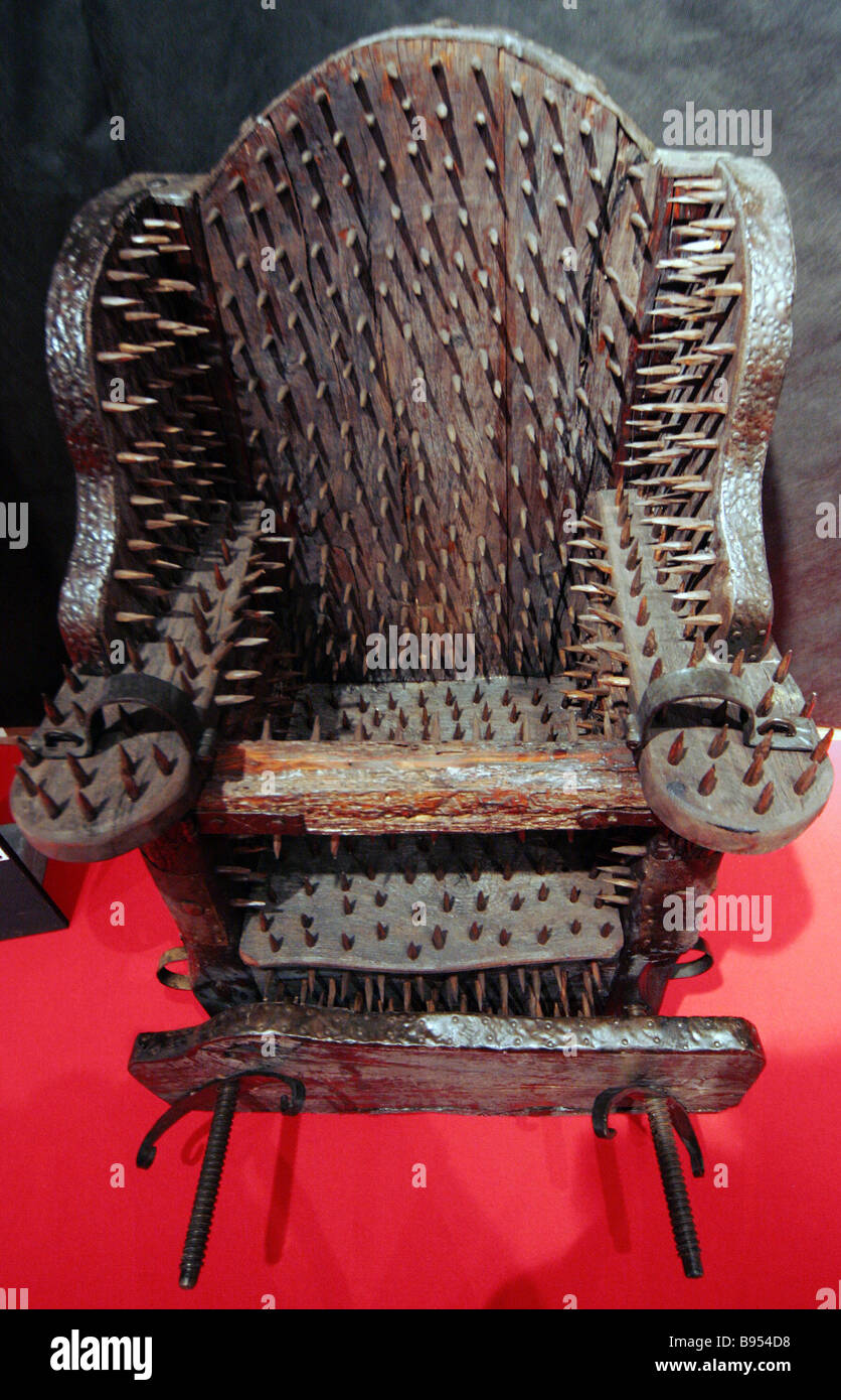 An exposition The Inquisition Medieval Instruments of Torture in the Peter and Paul Fortress opened in St Petersburg - Stock Image