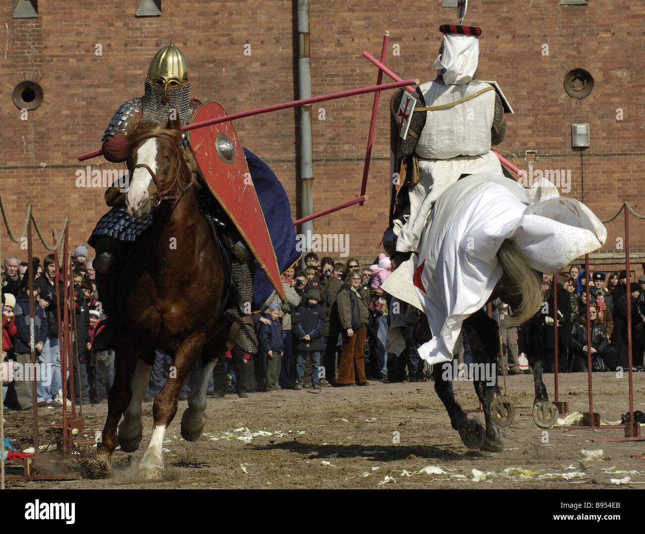 A tournament of knights at a military history festival The Battle of the Ice on the premises of the Artillery Museum - Stock Image