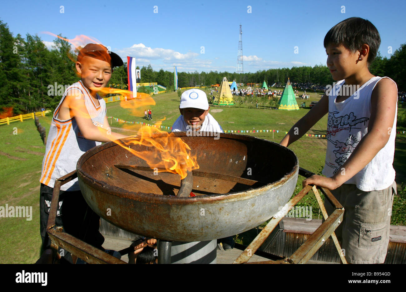 A festive town near Yakutsk appears only in June for the Yysakh holiday the Yakut New Year Stock Photo