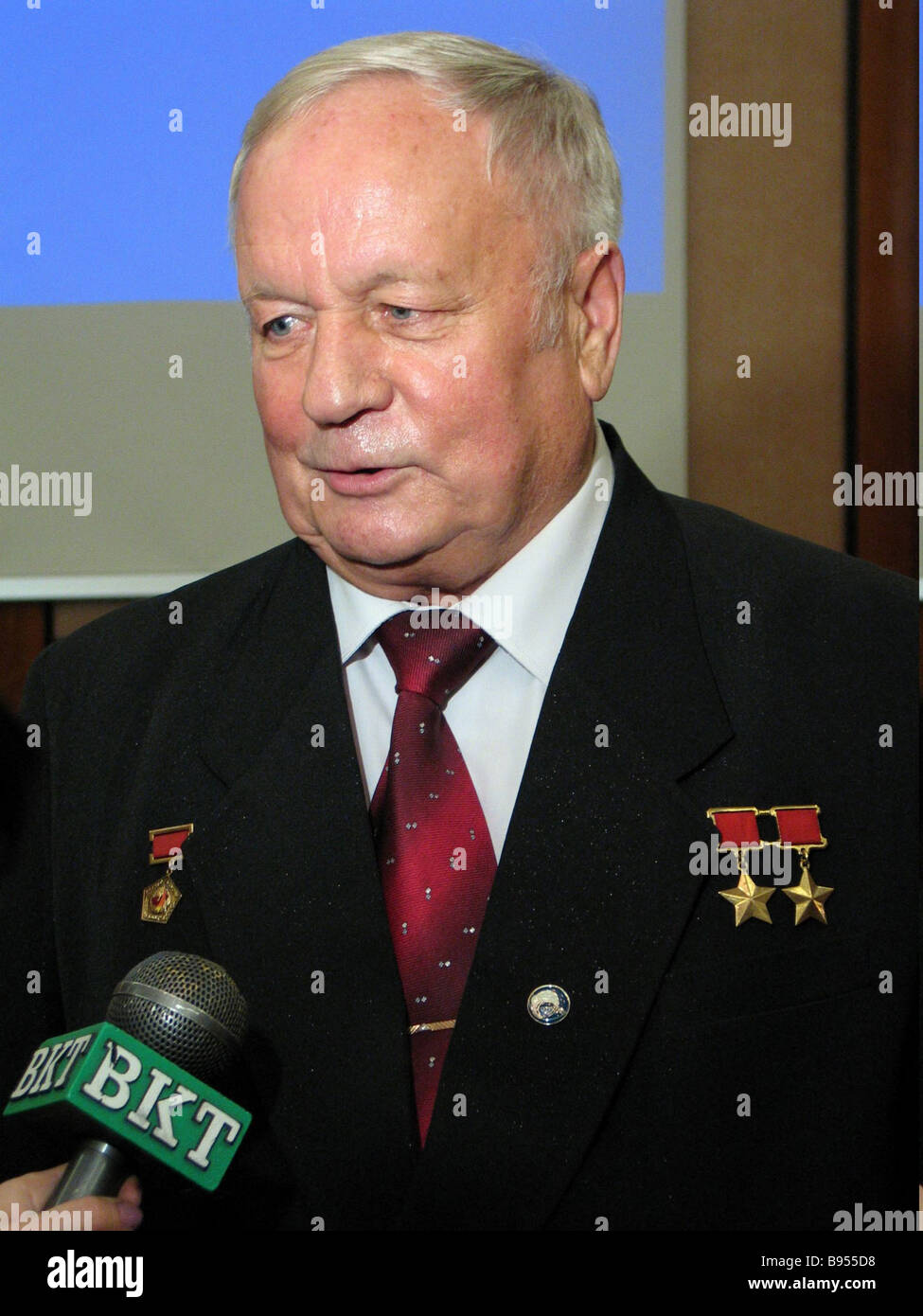 Viktor Gorbatko USSR Cosmonaut President of the Russian Philatelic Union - Stock Image
