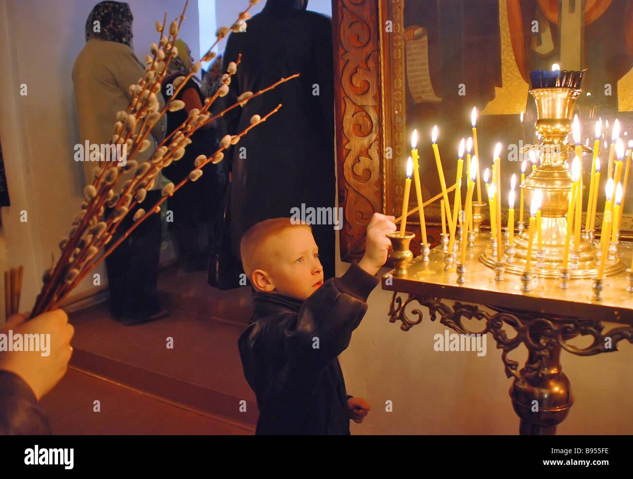 Orthodox Christians are celebrating Palm Sunday Veliky Novgorod - Stock Image