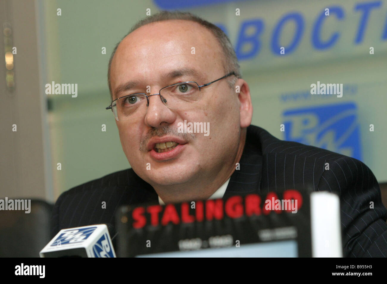 Radek Matula the Czech Republic s Charge d Affaires ad interim in Russia during a RIA Novosti presentation of the - Stock Image