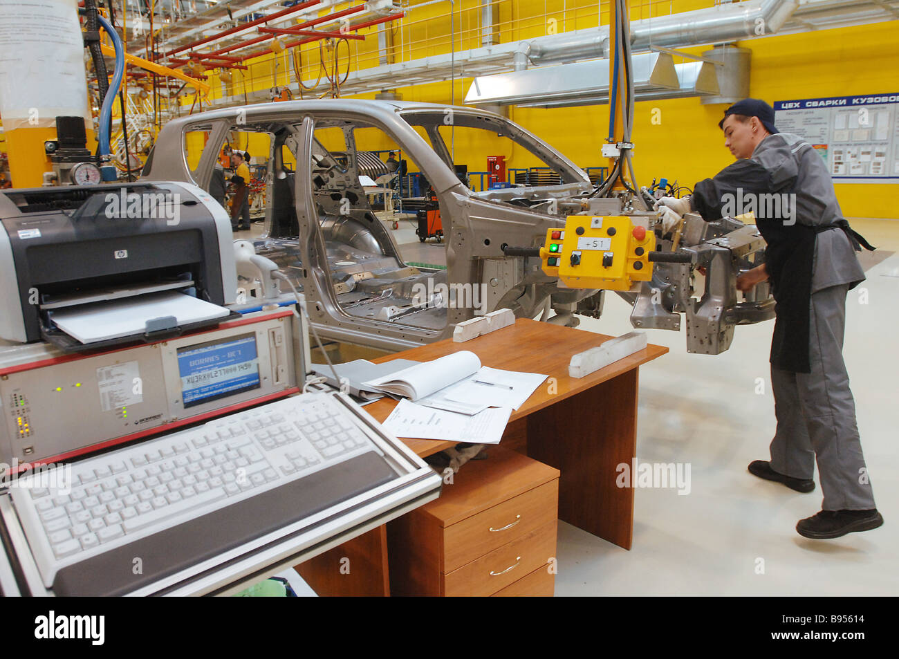 Automated minicar body welding at Severstal Auto Co - Stock Image