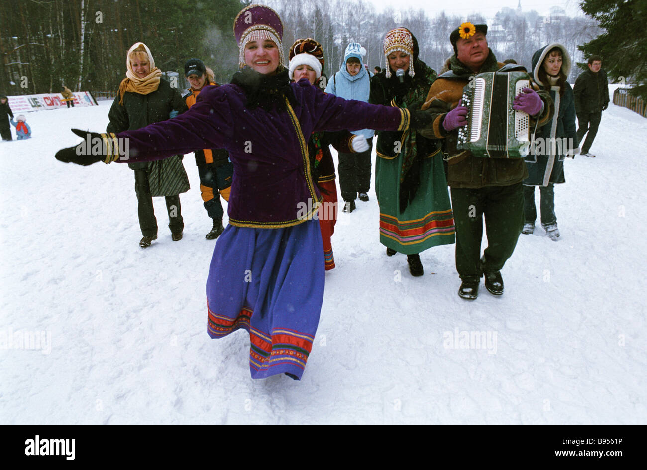 Good by to Shrovetide at Strogino sports base - Stock Image