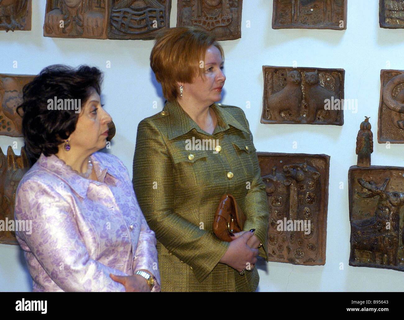 First lady of Armenia Bella Kocharyan left and first lady of Russia Ljudmila Putina right during their visit to - Stock Image