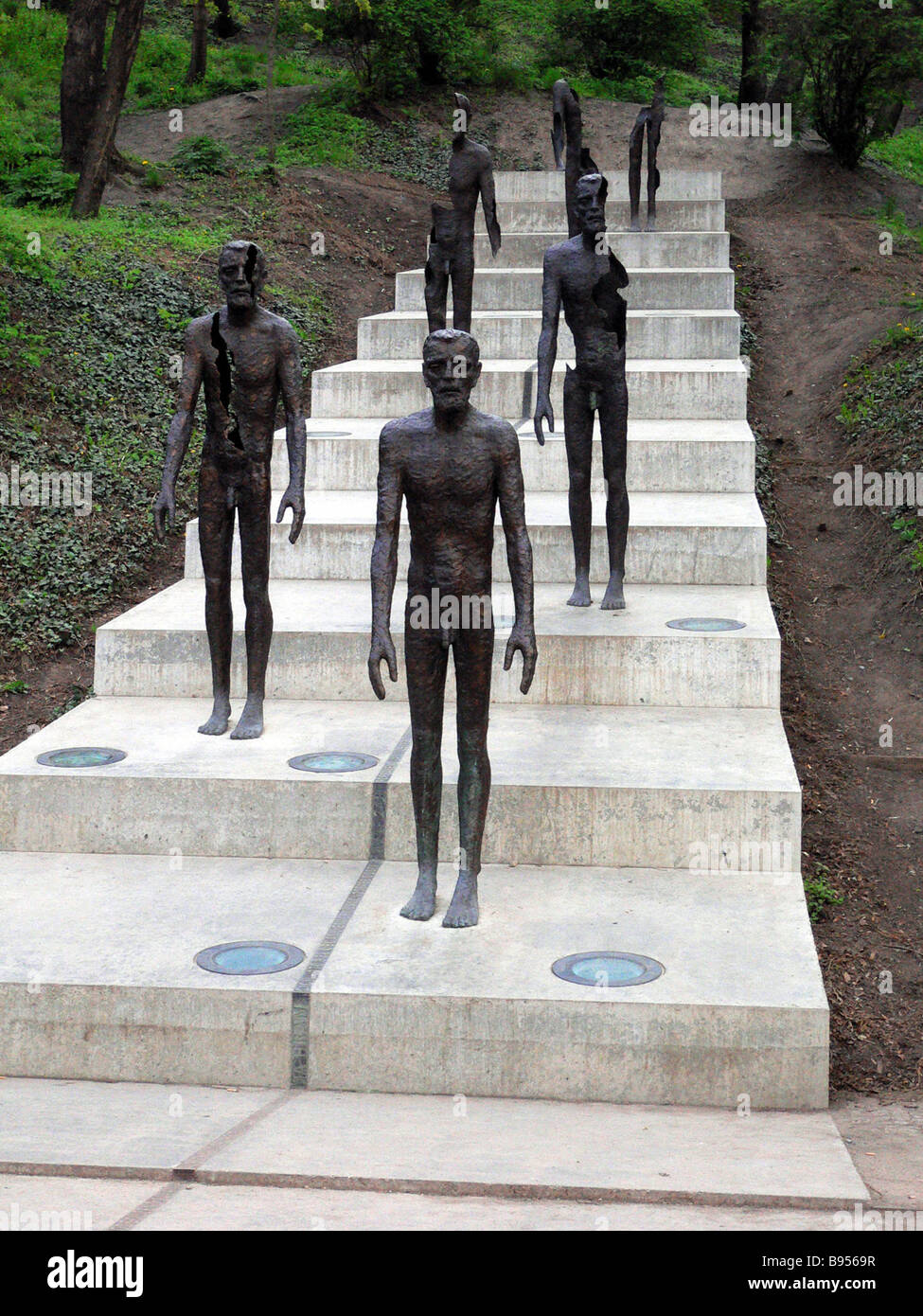 Monument to victims of Communism at bottom of Petrin Hill in Prague - Stock Image