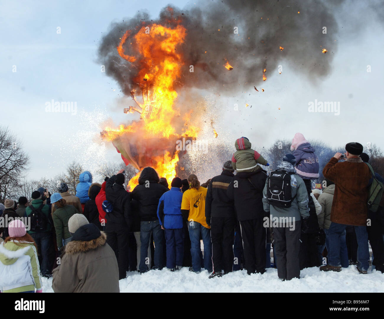 Burning a Winter doll on the stake a Russian folk custom for Pancake Week s last day in Gorky Park Moscow This is - Stock Image
