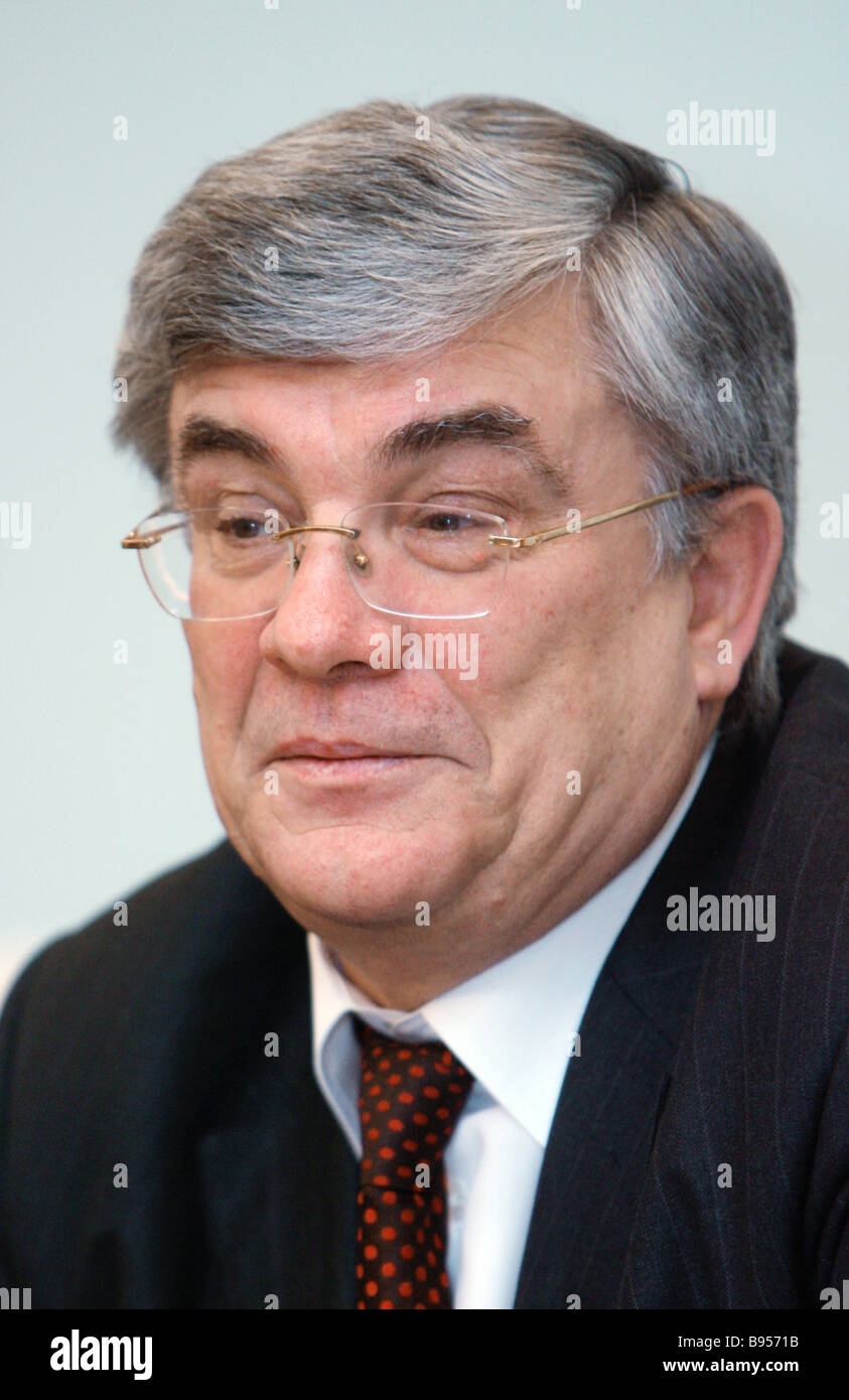The Russian Pension Fund PFR Board Chairman Gennady Batanov at the news conference The Fund s First Work Results Stock Photo