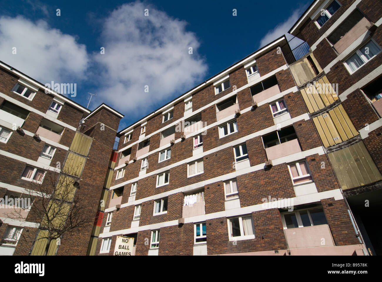 photograph of high rise tenement social housing - Stock Image