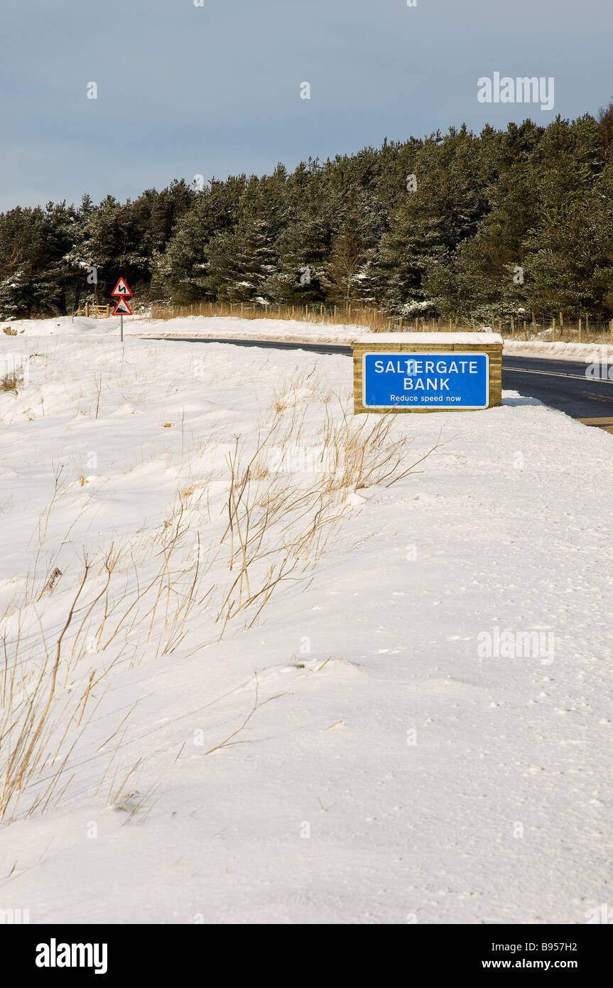 Sign at Saltergate Bank in winter North Yorkshire England UK United Kingdom GB Great Britain - Stock Image