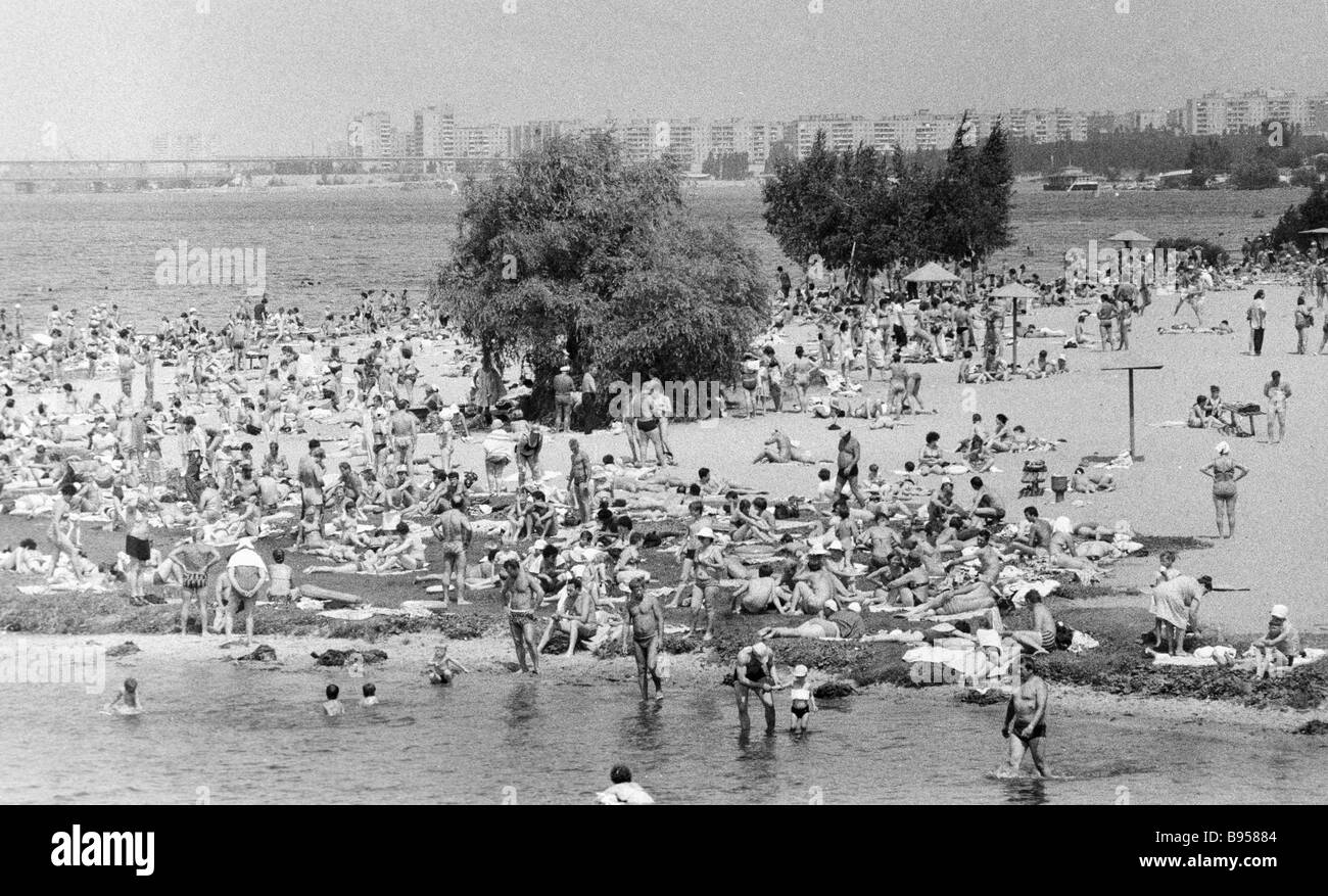 On the beach in Voronezh - Stock Image
