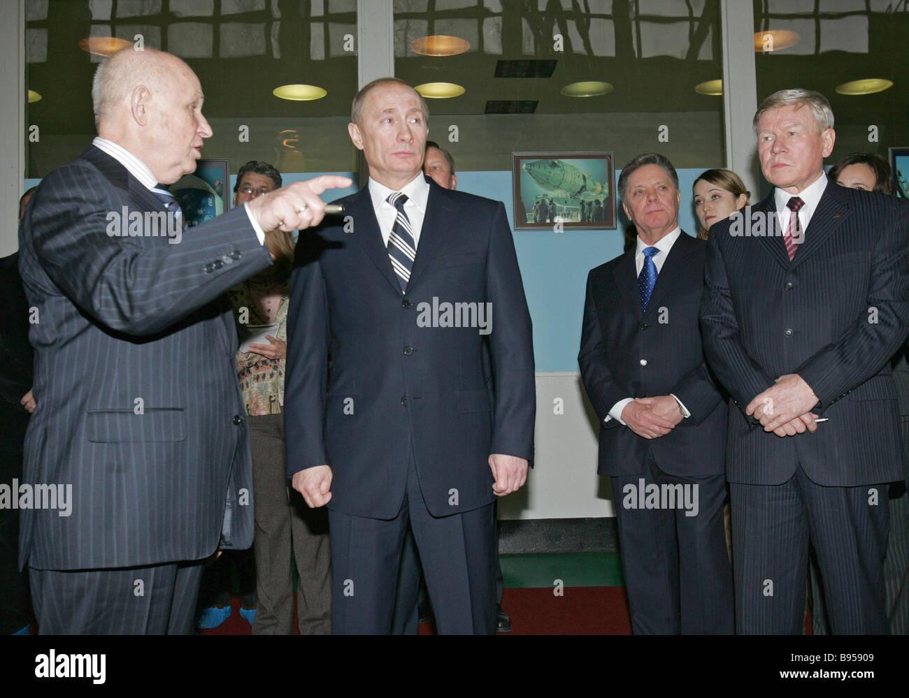 From left to right Lavochkin Aeronautical Design Center Director General Georgy Polishchuk President Vladimir Putin - Stock Image