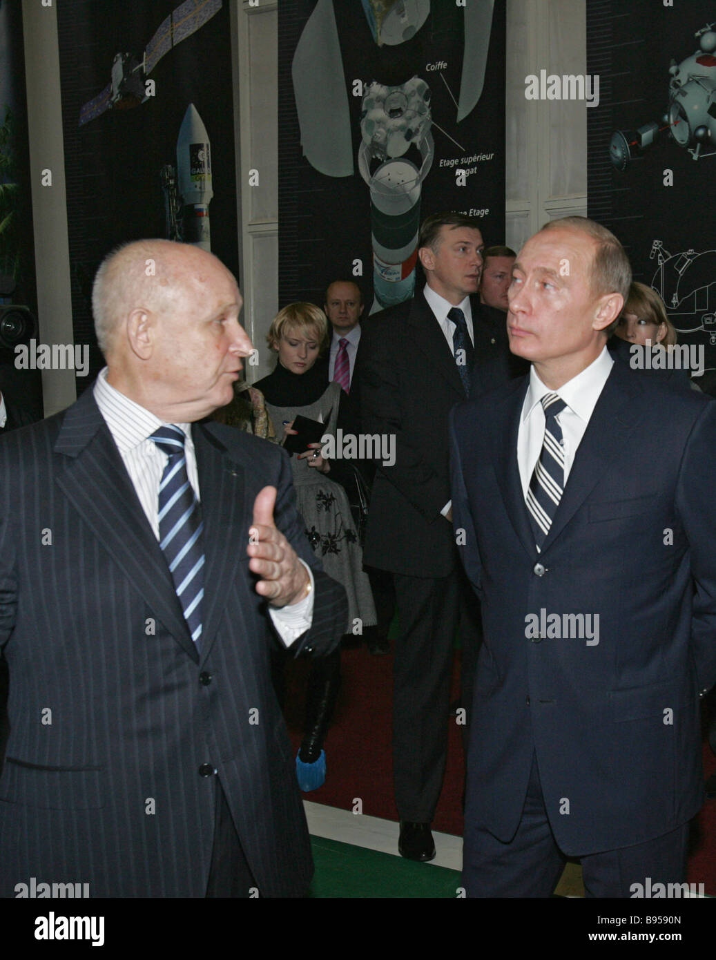 From left to right foreground Lavochkin Aeronautical Design Center Director General Georgy Polishchuk and President - Stock Image