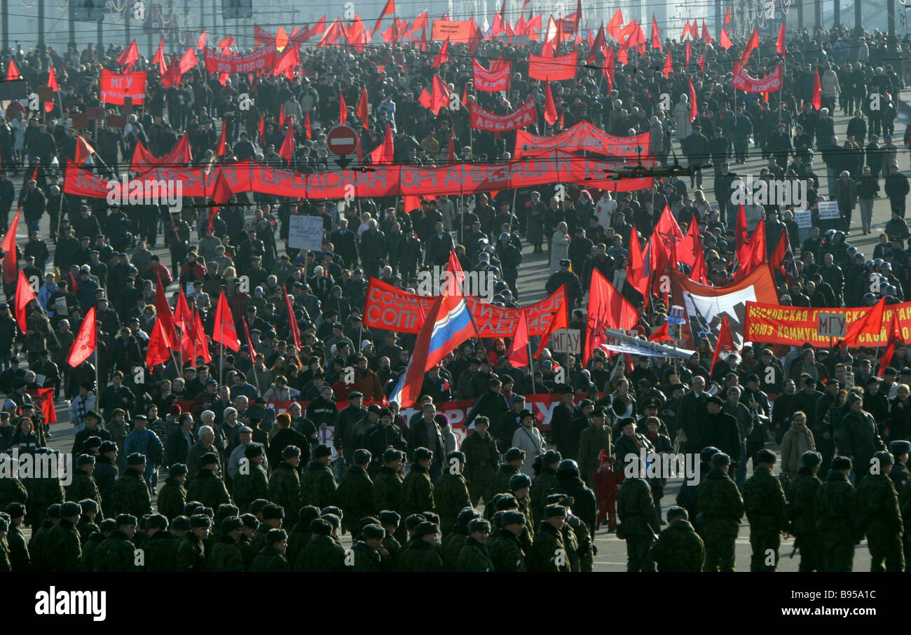 Communists and young Leftists who staged a procession timed to the 87th anniversary of the great October socialist - Stock Image