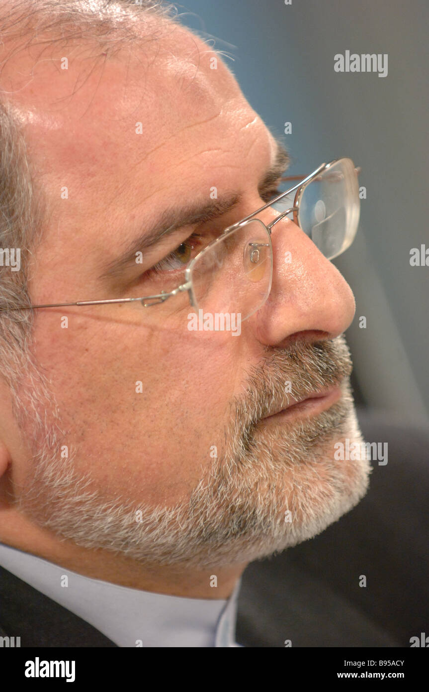 Iranian Ambassador to Russia Gholamreza Ansari at a news conference dedicated to the 29th anniversary of the Iranian - Stock Image