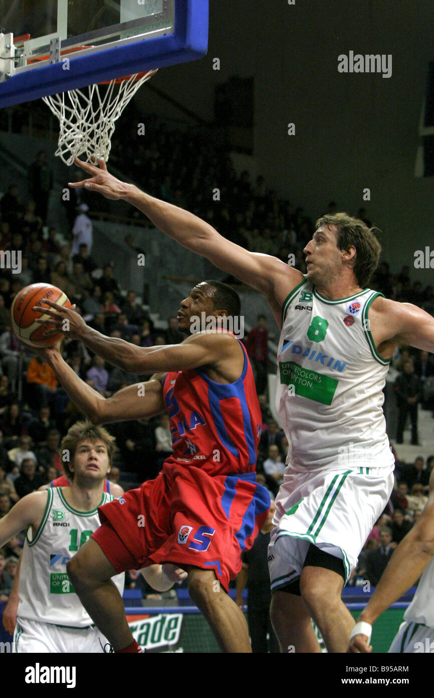 The Euroleague 1st round basketball match between CSKA Russia in red shirts and Benetton Italy Stock Photo